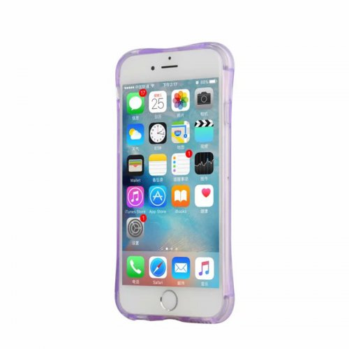 LED Flash Light Reminder Incoming Call Shockproof TPU Back Cover Case for iPhone 6 6S - Purple