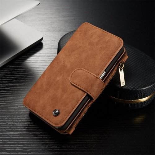 Genuine Leather Purse Wallet Case for Samsung Galaxy S6 Magnetic Suede Flip Cover - Brown