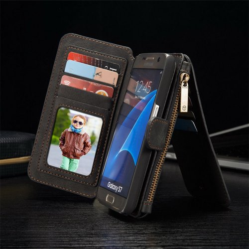 Genuine Leather Purse Wallet Case for Samsung Glaxy S6 Edge Plus Magnetic Suede Flip Cover - Black