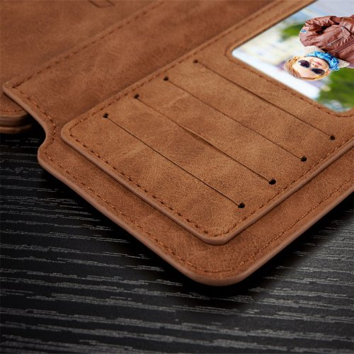 Genuine Leather Purse Wallet Case for Samsung Glaxy S6 Edge Plus Magnetic Suede Flip Cover - Brown