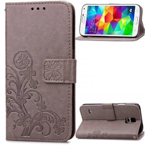 Lucky Clover Pattern PU Leather Flip Stand Wallet Cover Case for Samsung Galaxy S5 Mini - Grey