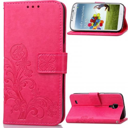 Lucky Clover Pattern PU Leather Flip Stand Wallet Cover Case for Samsung Galaxy S4 - Rose Red