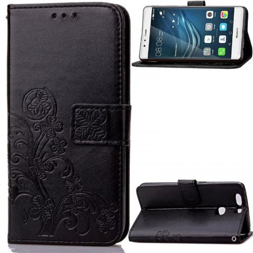 Lucky Clover Pattern PU Leather Flip Stand Wallet Cover Case for Huawei P9 Plus - Black