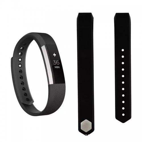Soft Silicone Sport Watchband Bracelet Wrist Strap for Fitbit Smartwatch - Black