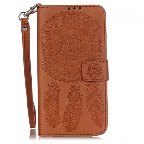 Dreamcatcher Embossed Stand Flip Wallet Credit Card Cover Case for LG G5 - Brown