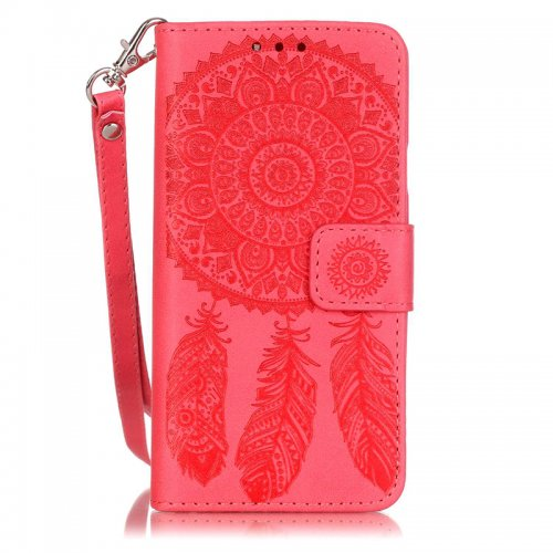 Dreamcatcher Embossed Stand Flip Wallet Credit Card Cover Case for Samsung A310 - Red