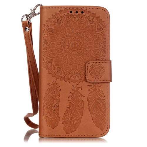 Dreamcatcher Embossed Stand Flip Wallet Credit Card Cover Case for Samsung Galaxy S5 - Brown