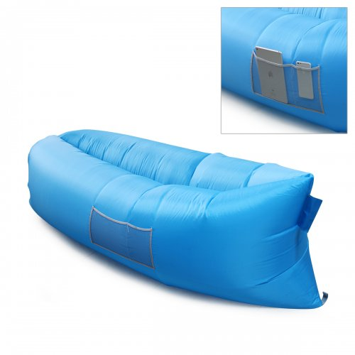 Outdoor Foldable Fast inflatable Air Sleeping Bag Sofa Couch Bed - Blue