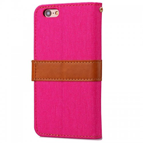 Denim Stand Flip Wallet Card Pouch Case Cover with Buckle for iPhone 6S - Rose Red