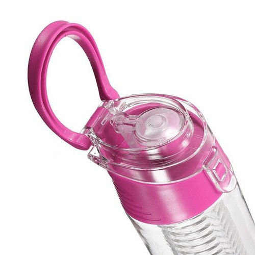 800ML Fruit Cup Infusing Infuser Water Sport Health Portable Lemon Flip Lid Plastic Bottle - Pink
