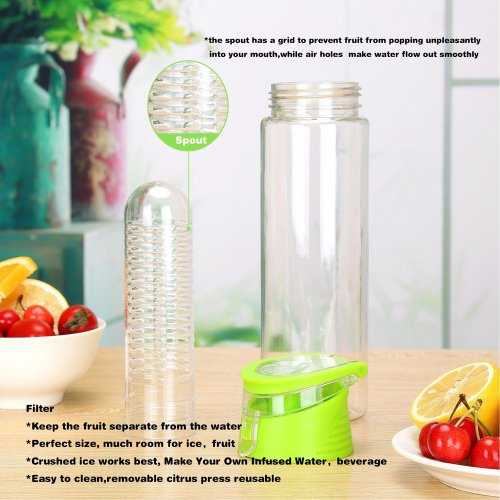 800ML Fruit Cup Infusing Infuser Water Sport Health Portable Lemon Flip Lid Plastic Bottle - Green