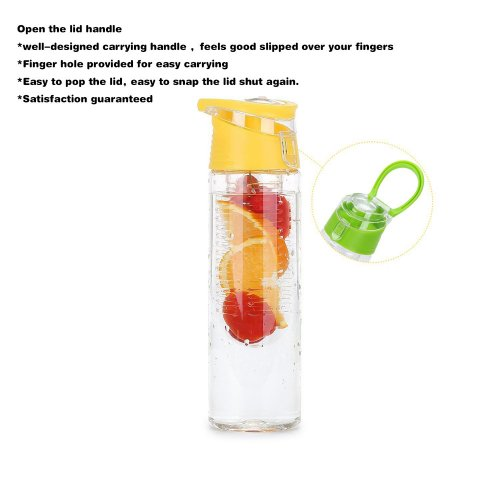 800ML Fruit Cup Infusing Infuser Water Sport Health Portable Lemon Flip Lid Plastic Bottle - Yellow