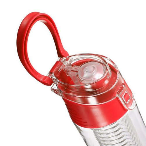 800ML Fruit Cup Infusing Infuser Water Sport Health Portable Lemon Flip Lid Plastic Bottle - Red