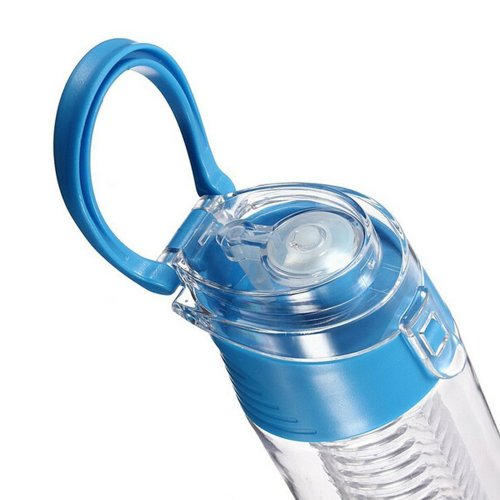 800ML Fruit Cup Infusing Infuser Water Sport Health Portable Lemon Flip Lid Plastic Bottle - Blue