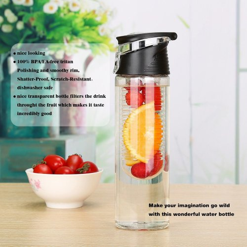 800ML Fruit Cup Infusing Infuser Water Sport Health Portable Lemon Flip Lid Plastic Bottle - Black