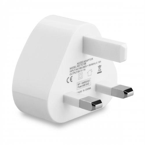 TC136 5V/1A USB travel charger 3 pin UK High Quality Plug - White