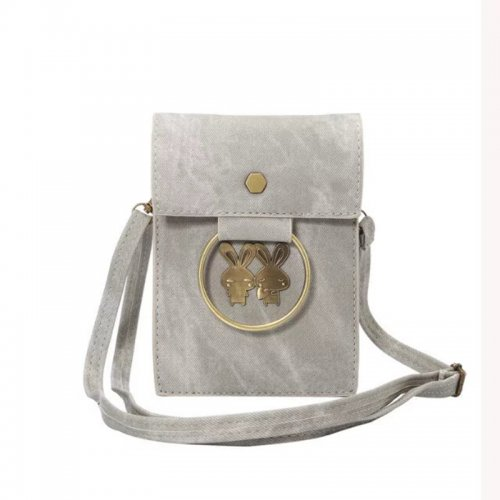 5.7 inch Fashion Denim Phone Shoulder Bag Pouch Case with Neck Strap - Light Grey