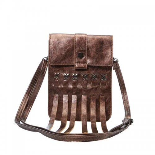 5.7 inch Fashion Tassel Phone Shoulder Bag Pouch Case with Neck Strap - Coffee