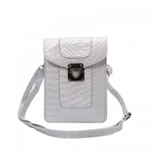 5.7 inch Fashion Crocodile Phone Shoulder Bag Pouch Case with Neck Strap - Silver