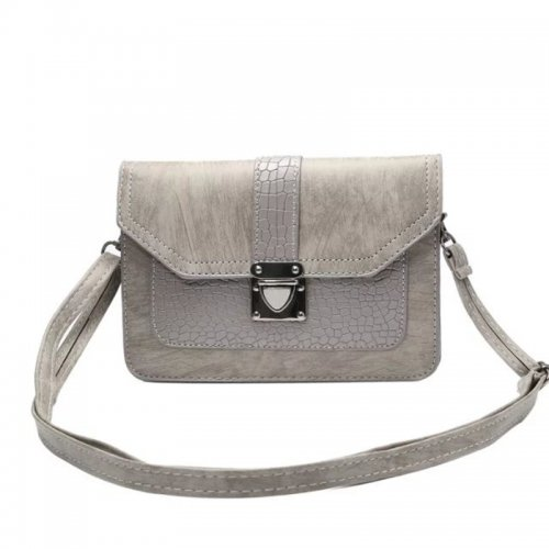 6.3 inch Leather Horizontal Phone Shoulder Pouch Bag with Neck Strap - Dark Grey