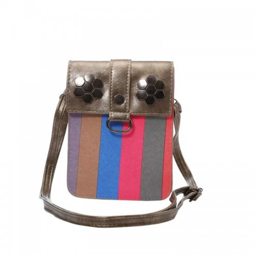 6.3 inch Fashion Strip Pattern Leather Crossbody Phone Shoulder Bag Pouch Case with Neck Strap - Grey Brown