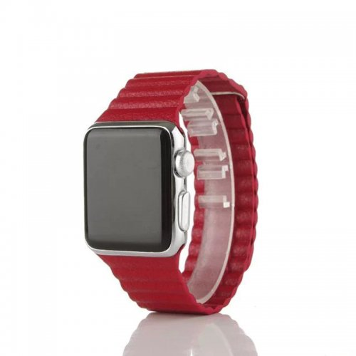 42mm Leather Loop Strap Watchband for Apple Watch iWatch - Red