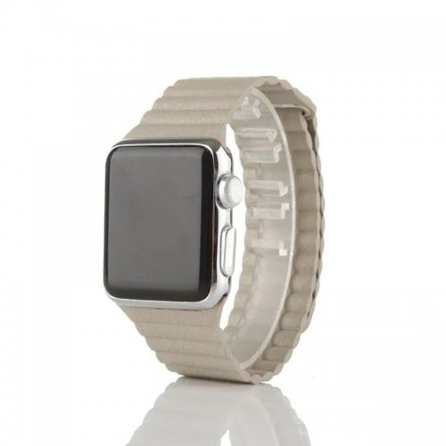 42mm Leather Loop Strap Watchband for Apple Watch iWatch - Khaki