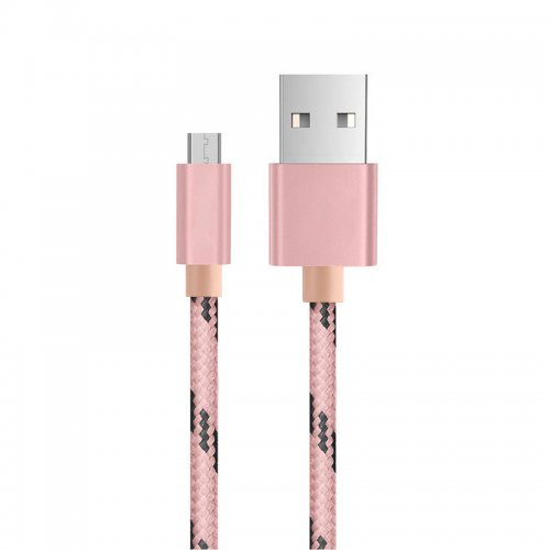 1m Weave Braid USB Data Sync Charging  Cable for Samsung V8 - Rose Golden