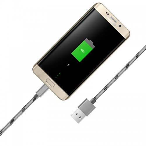 1m Weave Braid USB Data Sync Charging  Cable for Samsung V8 - Grey