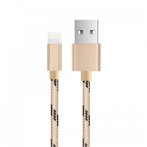 1.5m iPhone 8pin Weave Braid Lightning Data Charge Cable - Golden