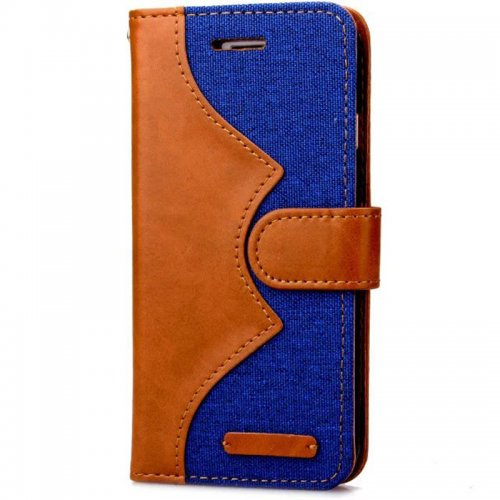Denim Stand Flip Wallet Card Pouch Case Cover for Apple iPhone 6S - Blue