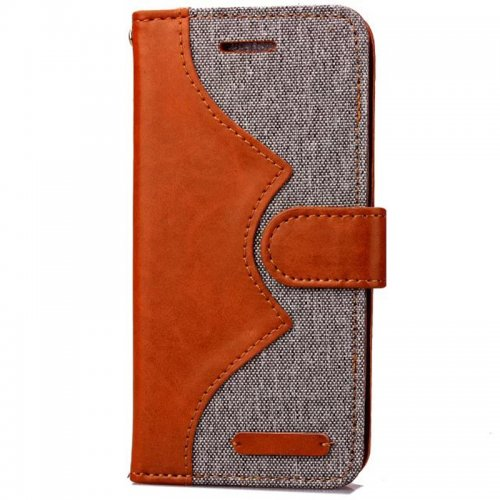 Denim Stand Flip Wallet Card Pouch Case Cover for Apple iPhone 6S - Grey