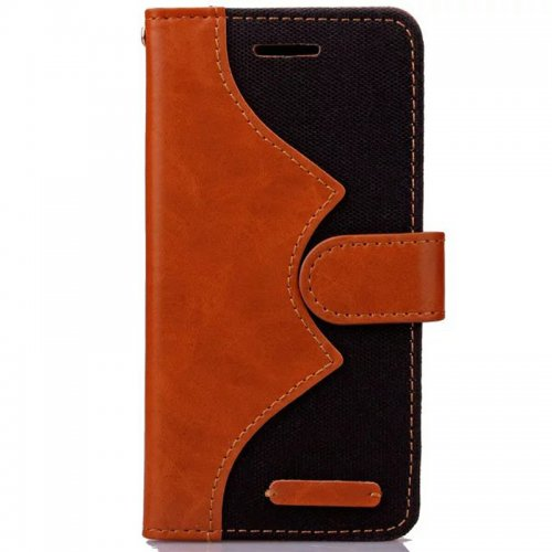 Denim Stand Flip Wallet Card Pouch Case Cover for Apple iPhone 6S - Black