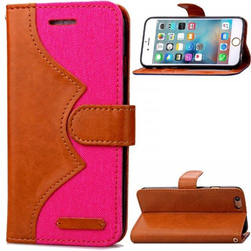 Denim Stand Flip Wallet Card Pouch Case Cover for Apple iPhone 6S - Rose Red