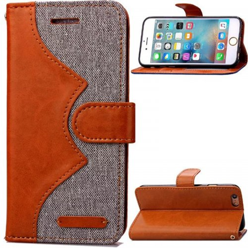 Denim Stand Flip Wallet Card Pouch Case Cover for Apple iPhone 6S Plus - Grey