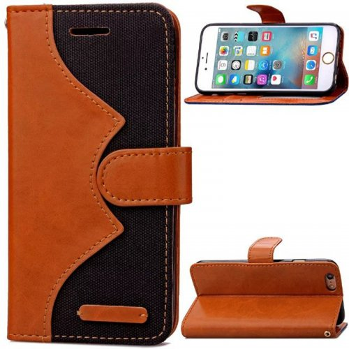 Denim Stand Flip Wallet Card Pouch Case Cover for Apple iPhone 6S Plus - Black