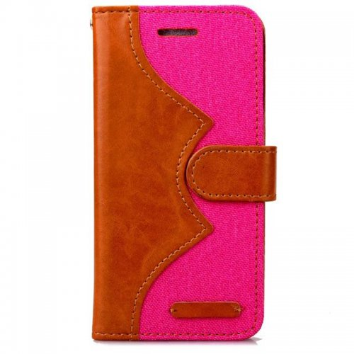 Denim Stand Flip Wallet Card Pouch Case Cover for Apple iPhone 6S Plus - Rose Red