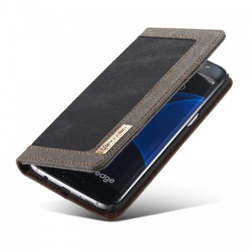 Denim Breathable Stand Flip Wallet Credit Card Cover Case for Samsung Galaxy S7 Edge - Black