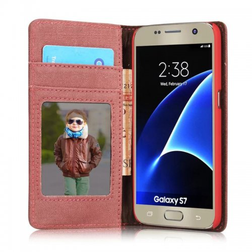 Denim Breathable Stand Flip Wallet Credit Card Cover Case for Samsung Galaxy S7 - Red