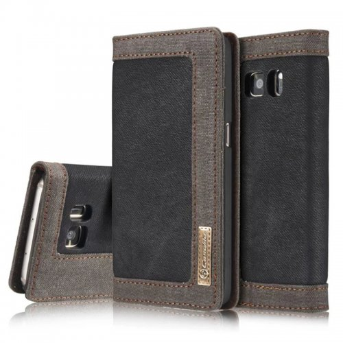 Denim Breathable Stand Flip Wallet Credit Card Cover Case for Samsung Galaxy S7 - Black