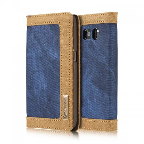 Denim Breathable Stand Flip Wallet Credit Card Cover Case for Samsung Galaxy S7 - Blue