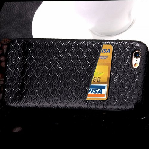 Mermaid Fish Scale Glossy Protective Back Cover Case with Card Slots for Apple iPhone 6S - Black