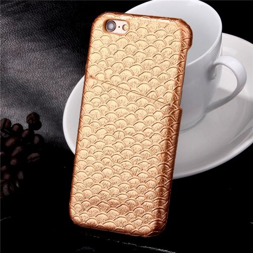 Mermaid Fish Scale Glossy Protective Back Cover Case with Card Slots for Apple iPhone 6S Plus - Golden