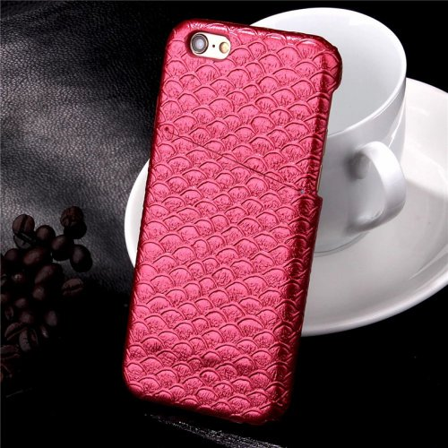 Mermaid Fish Scale Glossy Protective Back Cover Case with Card Slots for Apple iPhone 6S Plus - Red