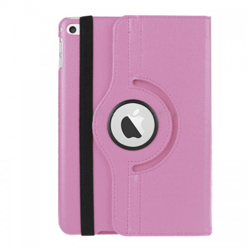 360 degree Rotating PU Leather Flip Stand Case Cover Skin for iPad Mini 4 - Pink