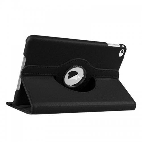 360 degree Rotating PU Leather Flip Stand Case Cover Skin for iPad Mini 4 - Black