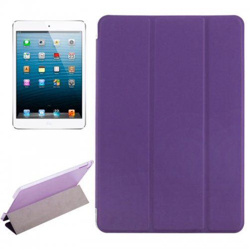 Slim PU Leather Magnetic Tri-Fold Smart Stand Cover Case for iPad Mini 4 - Purple