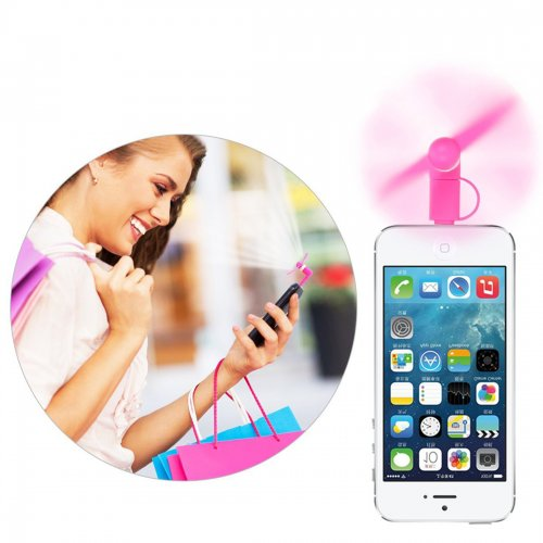 Portable 2 in 1 Phone Mini Fan Cooling Cooler for iPhone 6/7/8/XS Huawei Samsung - Pink