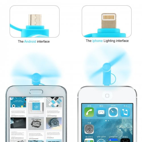 Portable 2 in 1 Phone Mini Fan Cooling Cooler for iPhone 6/7/8/XS Huawei Samsung - Blue