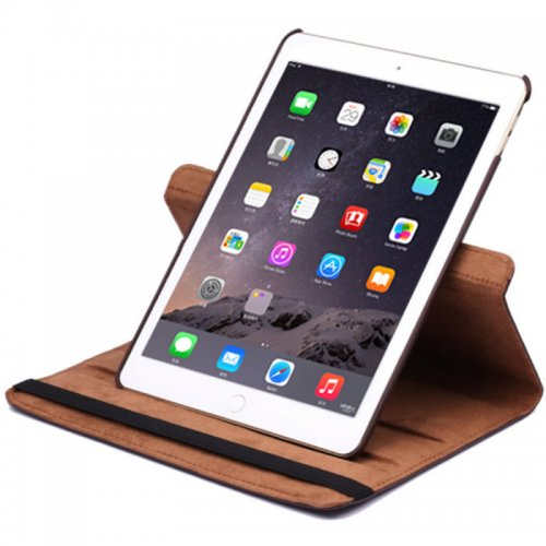 360 degree Rotating PU Leather Flip Stand Case Cover Skin for iPad Air 2(iPad 6) - Brown